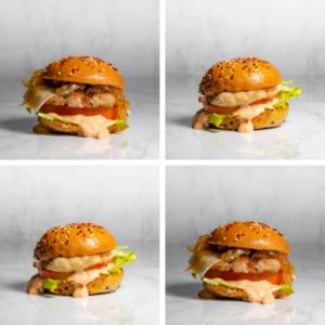 Bandeja de mini hamburguesas
